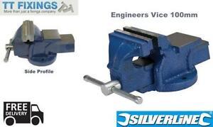 Silverline-Engineers-Vice-Mechanics-Garage-Workshop-Bench-Top-Vice-100mm-Cast