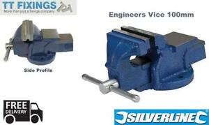 Silverline Engineers Vice Mechanics Garage Workshop Bench Top Vice 100mm Cast