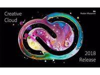 Adobe CC 2018 Photoshop , Illustrator , Premiere Pro . Lightroom for Windows / Macbook / Imac