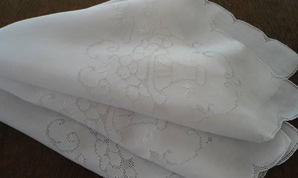 Vintage Linen Tablecloth Mosaic Lace Embroidered Flower Basket Punchwork