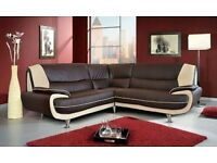 Brown corner sofa leather new in wrapper