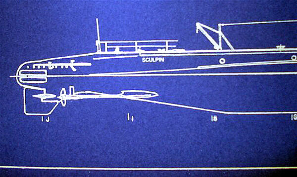 Vintage WW2 USN Attack Submarine USS Sculpin SS-191 Blueprint 10x23  (283)