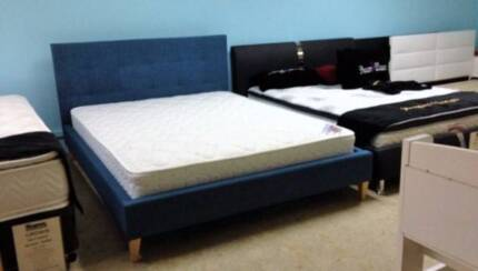 UPHOLSTERED BED BLUE GREY CREAM payment plans; 6 M. INTEREST FREE Southport Gold Coast City Preview