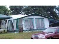 Bradcot caravan awning. Used 900/950cm for 16 ft caravan. Includes Easy Alloy three piece frame.