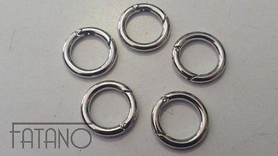 5 Kettenverschluss Karabinerverschluss Donut Ring silber 25 x 4 mm R33