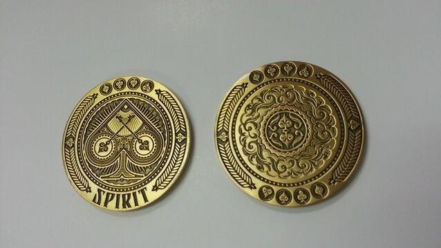 Set of Spirit Coins 3d Engraved Poker Dealer Gold & Silver Card Guards