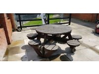 LARGE 8 SEATER SOLID WOOD BENCH