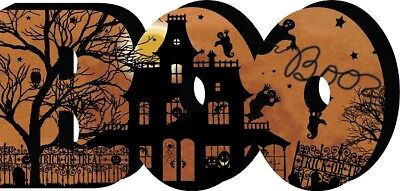 Halloween Sign Boo, Chunky Block Table Top Vintage look Haunted House