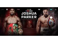 4x Anthony Joshua v Joseph Parker tickets, lower tier 28 row 25