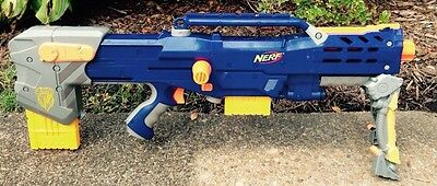 HASBRO NERF LONGSHOT CS-6 DART GUN RIFLE with BIPOD, AMMO CLIPS, 2006