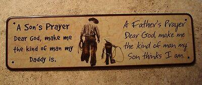 COWBOY DAD & SON PRAYER SIGN Dear God Make Me The Kind of Man My Son Thinks I Am