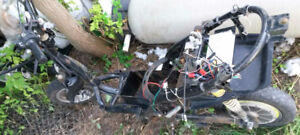 electric bike frame and fairing parts, tires, brakes etc..