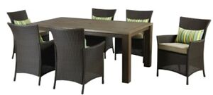 Wicker/rattan dining/PATIO outdoor set table and 6 chairs brown