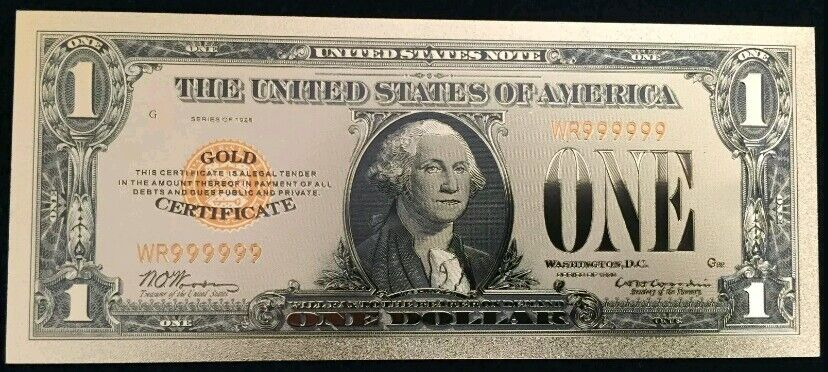 """☆MINT☆ OLD STYLE """"GOLD"""" $1.00 GOLD CERTIFICATE One DOLLAR Rep.*Banknote W/COA~"""