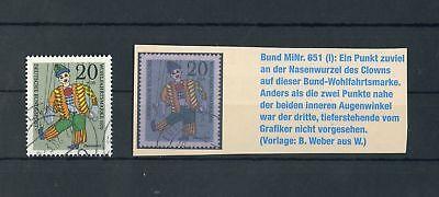 "BUND Nr.651(I) gestpl. PLATTENFEHLER ""Punkt an der Nase"" !!! (115921)"