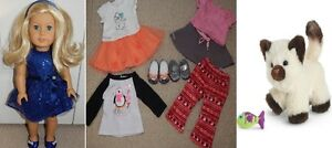 American Girl Truly Me Doll + 4 Outfits and Himalayan Kitten