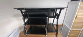 Black Glass Computer desk + black glass hi-fi rack