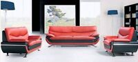 Brand New Leather four pce set sofa, love, chair, coffee table!