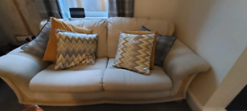 Cream double sofa fabric with wood detail