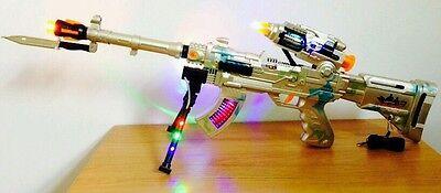 AK47 SPIN 3 Luci LED dell/'Esercito pistola che spara proiettili rotante del suono 65CM Giocattoli Ragazzi Ragazze