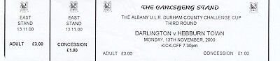 Ticket - Darlington v Hebburn Town 13.11.00 Durham County Challenge Cup