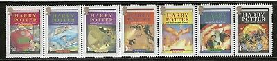 HARRY POTTER - COMPLETE SET OF 7 BOOK COVERS ON POSTAGE STAMPS - MINT CONDITION