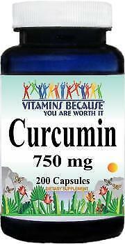 Vitamins Because Curcumin 750 mg 200 Capsules