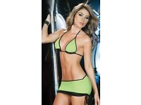 Sexy SOLID With Black Trim 3 Piece Skirt bikini Set Club/Dancer Outfit. Brand New In Packaging.