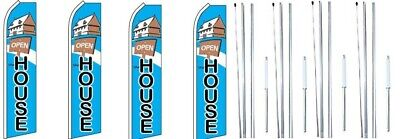 Open House With Sign Swooper Flag With Complete Hybrid Pole Set- 4 Pack