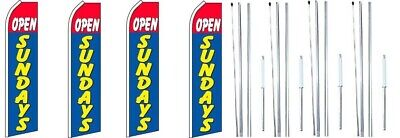 Open Sundays Red Blue Swooper Flag With Complete Hybrid Pole Set- 4 Pack