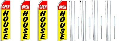 Open House Yellow Swooper Flag With Complete Hybrid Pole Set- 4 Pack