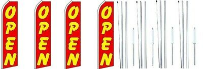 Open Red Swooper Flag With Complete Hybrid Pole Set- 4 Pack