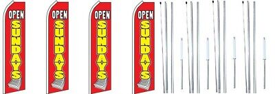 Open Sundays Red Yellow Swooper Flag With Complete Hybrid Pole Set- 4 Pack
