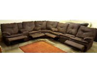 Corner or 3+2 seater recliner sofa suede brown . Can deliver