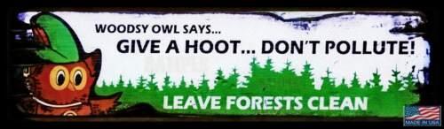 "WOODSY OWL METAL STREET SIGN 3""x12"" U.S. FOREST SERVICE RUSTIC VINTAGE"