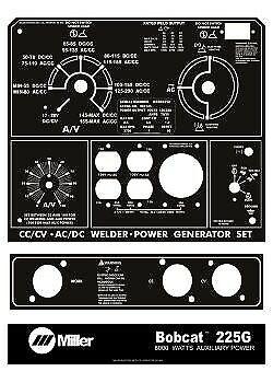 Miller Welder Black White Laser Cut Aluminum Bobcat 225g 3-pcs Control Plate