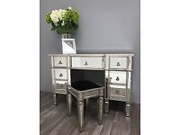 new! Mirrored vintage style large 7 drawer style desk/ dressing table