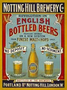 Notting Hill Brewery Metal Sign, Retro Bar, Pub, Den Decor, Alcohol, English Ale