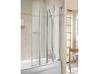 Twyford Geo6 4-Part Folding Bath Screen 1500 x 1000mm (Right Hand)