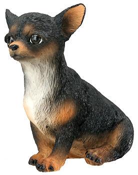 CHIHUAHUA (Black) DOG PUPPY FIGURINE.LIFELIKE STATUE.CUTE PUP COLLECTIBLE FIGURE