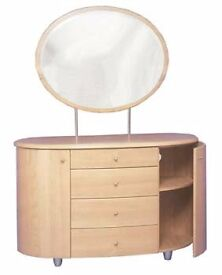 CONTEMPORARY ART DECO BEDROOM FURNITURE , DRESSING TABLE, 5 DRAWER CHEST AND BEDSIDE TABLE