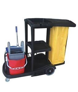 Janitor cart with 2 Buckets, Wringer, Bag + Free Item
