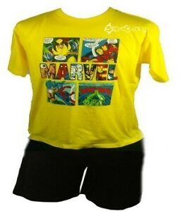 Mens-Marvel-Comic-Short-Pyjamas-Sizes-S-2XL-Avengers-Iron-Man-Hulk-Spiderman