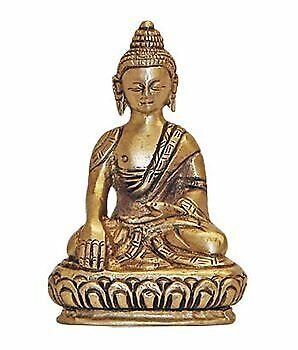 Sakyamuni Buddha, 3 Inch Detailed Brass Statue, Made In India