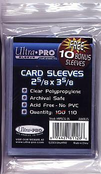 Ultra pro standard sized penny sleeves, 100% clear with NO STICKER.