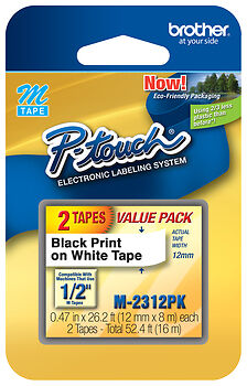 "Brother 1/2"" Tape for Select P-Touch Electronic Labelers (2-Pack) Black/White M2312PK"
