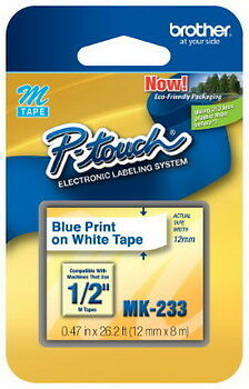 New Brother Mk233 P-touch Label Tape 12 Blue On White 12mm Ptouch Mk-233