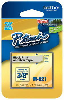 New Brother M921 P-touch Label Tape 38 Black On Silver 9mm Ptouch M-921