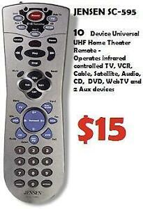 JENSEN SC-595 10 Device IR/RF Universal Home Theater Remote Operates: TV, VCR, Cable, Satellite, Audio, CD, DVD, WebTV a