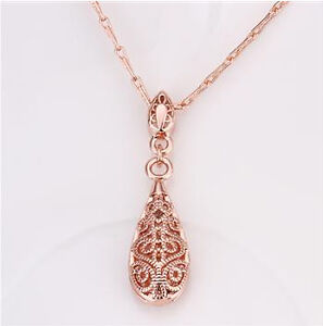 Antique Style 18K Rose GOLD Filled Filigree Pendant Charm Necklace VINTAGE LOOK